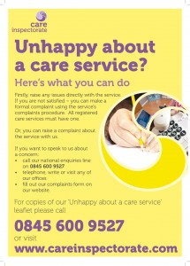Unhappy about your care service poster