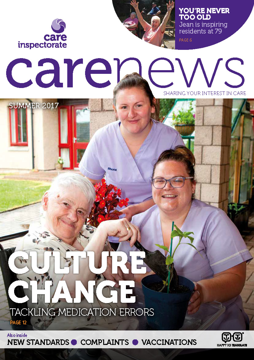 Front page of Care News Autumn 2016
