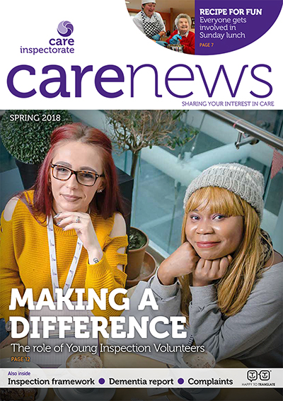 Front page of Care News Spring 2018